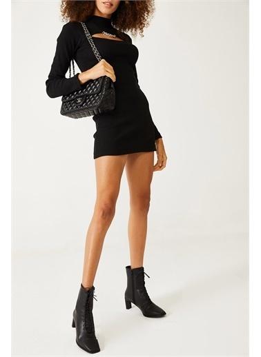 XHAN Siyah Degaje Detaylı Elbise  Siyah